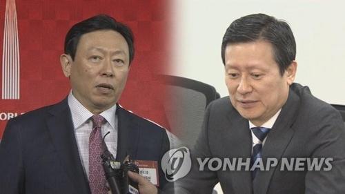 辛東彬氏(左)と辛東主氏=(聯合ニュースTV)