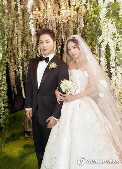 結婚式でのSOLさん(YGエンターテインメント提供)=(聯合ニュース)