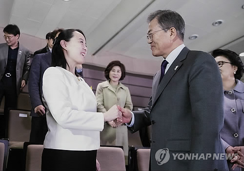 11日、ソウルで北朝鮮芸術団の公演を鑑賞した文大統領(右)と与正氏=(聯合ニュース)