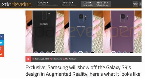 XDA Developersはサムスン電子がARを用いてギャラクシーS9を紹介すると伝えている=(聯合ニュース)