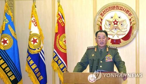 2013年、朝鮮中央テレビに出演し、軍最高司令部報道官の声明を発表する金氏=(聯合ニュース)