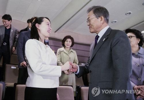 文大統領(右)と握手を交わす金与正氏=(聯合ニュース)