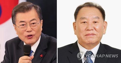 文大統領(左)と北朝鮮の金英哲氏=(聯合ニュース)