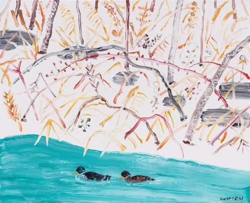 雪岳山の自然を描いたキム氏の作品(チョヒョン画廊提供)=(聯合ニュース)