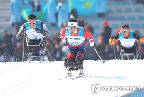 力強い走りを見せるシン・ウィヒョン=11日、平昌(聯合ニュース)
