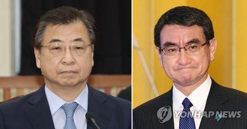 徐氏(左)と河野外相=(聯合ニュース)