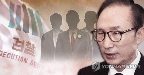 李明博元大統領(右)が14日に検察の取り調べを受ける(コラージュ)=(聯合ニュース)