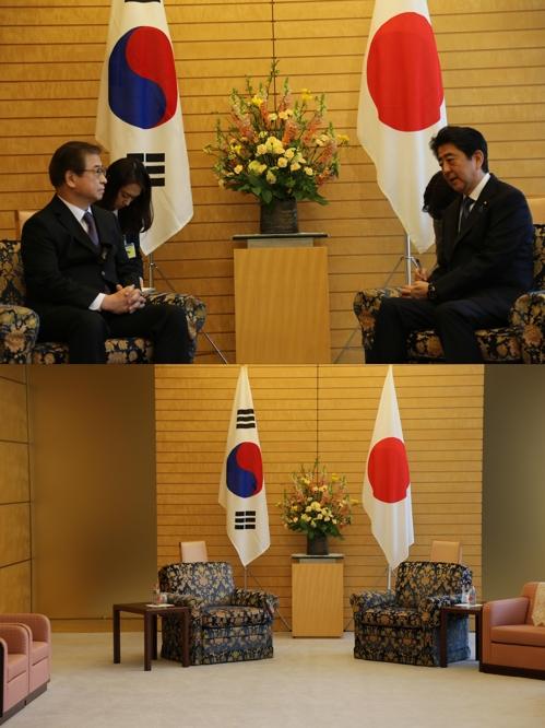 同じ椅子に座る徐氏(上写真左)と安倍氏=(聯合ニュース)