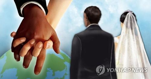 外国人との婚姻件数は昨年は小幅増となった=(聯合ニュース)