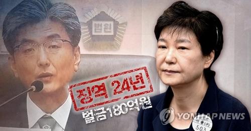 ソウル中央地裁は6日の判決公判で朴被告(右)に懲役24年、罰金180億ウォンを言い渡した(コラージュ)=(聯合ニュース)