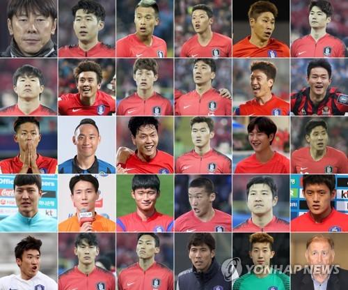 サッカー韓国代表の申台龍(シン・テヨン)監督(左列最上段)とW杯ロシア大会のメンバー、スタッフ=(聯合ニュース)