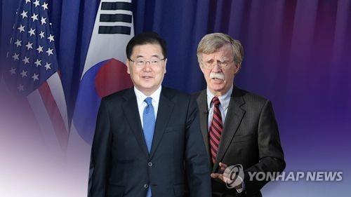 鄭義溶氏(左)とボルトン氏(コラージュ)=(聯合ニュース)