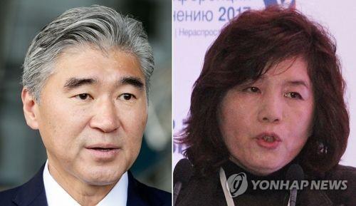 米国のソン・キム元駐韓大使(左)と北朝鮮の崔善姫・外務次官(資料写真)=(聯合ニュース)