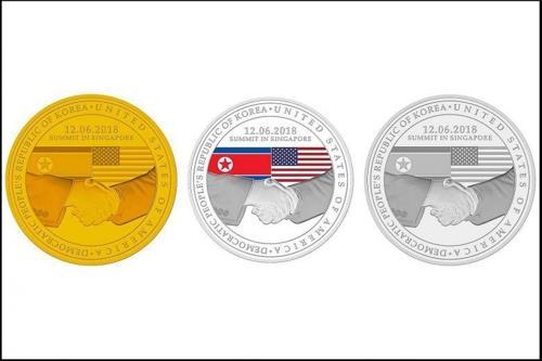 シンガポール造幣局が公開した朝米首脳会談記念コイン(シンガポール造幣局提供)=(聯合ニュース)