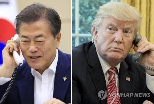 文大統領(左)とトランプ大統領=(EPA=聯合ニュース)
