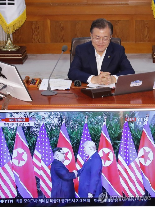 朝米首脳会談を見守る文大統領(資料写真)=(聯合ニュース)