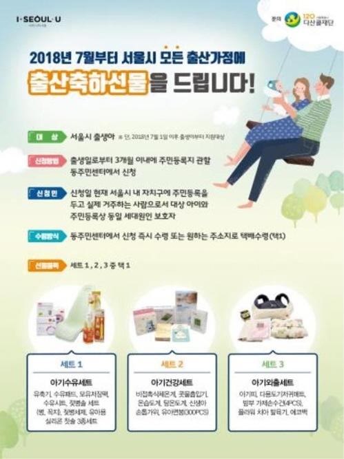 ソウル市の出産祝い品に関するポスター。3種類の中から選択できる=(聯合ニュース)