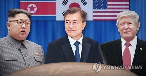 文大統領(中央)と北朝鮮の金正恩(キム・ジョンウン)国務委員長(朝鮮労働党委員長、左)、トランプ米大統領(コラージュ)。南北の2回の首脳会談に続き、朝米(米朝)も首脳会談を行った=(聯合ニュース)