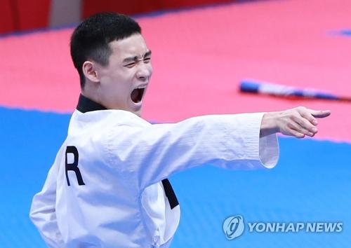 今大会、韓国勢初の金メダルに輝いたカン・ミンソン=19日、ジャカルタ(聯合ニュース)