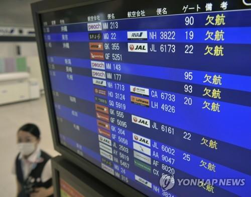 欠航を知らせる関西空港の電光掲示板(資料写真)=(聯合ニュース)