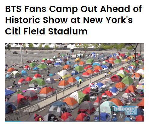 シティフィールドの駐車場に並ぶファンのテント(ビルボードのホームページより)=(聯合ニュース)