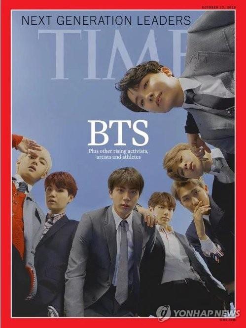 BTSが米タイム誌の「次世代リーダー」に選ばれ、最新号の表紙を飾る。同誌が公表した表紙(同誌サイトより)=11日、ソウル(聯合ニュース)