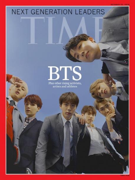 BTSが表紙を飾る10月22日付の米誌タイムのアジア版が発売前に完売した(イエス24提供)=(聯合ニュース)