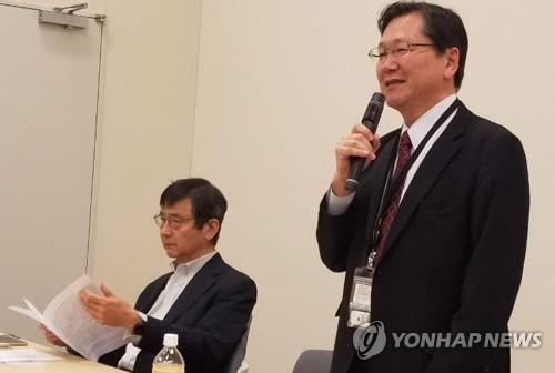 徴用賠償に関する共同声明を発表する日本の弁護士=(聯合ニュース)