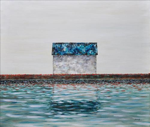 You were the sole cozy house to this frivolous existence_Aqua 53x45.5(cm) Oil on Canvas 2007.