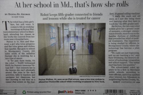 암병동에서 로봇으로 원격등교하는 미국 어린이