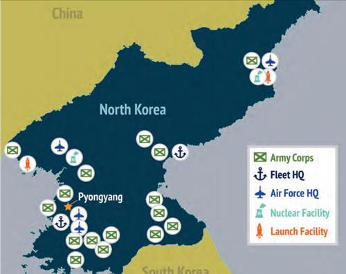 미국 전략국제문제연구소의 아시아.태평양 재균형 전략 2025 보고서에 담긴 북한 내부 핵.미사일 배치도