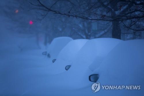 눈으로 덮인 차량들(EPA=연합뉴스)