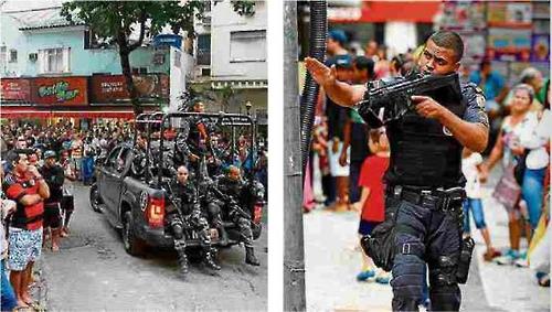 총격전 현장에 출동한 경찰 특공대