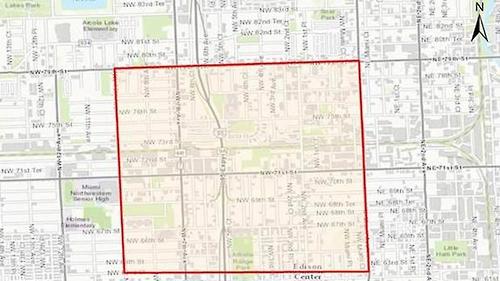 플로리다 주 보건국이 발표한 마이애미 시 세 번째 지카 확산 지역