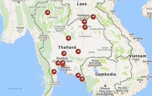 태국내 지카 바이러스 감염자 발생지역