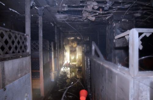 화재가 난 복합상가건물 내 호프집