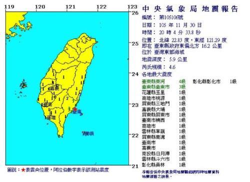 대만 타이둥현 지진 발생[대만 중앙기상대 캡처]