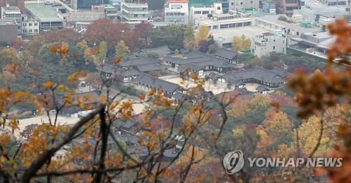 올해 입동이던 11월7일 남산 한옥마을. 2016.11.7 [연합뉴스 자료사진]