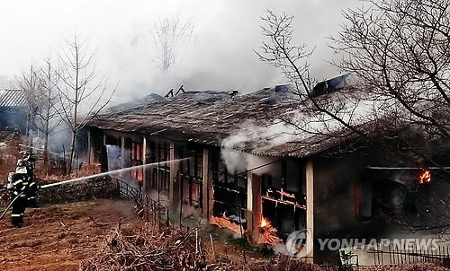 축사화재 [연합뉴스 자료사진]