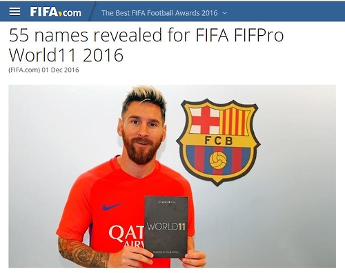 FIFA FIFPro 월드11 후보 55명 발표[FIFA 홈페이지 캡처=연합뉴스]