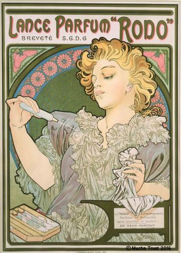 일폰스 무하의 랑스 향수 '로도' 포스터. 1896년작