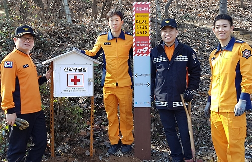 원미산과 도당산에 산악 구급함 설치한 부천소방서 대원들