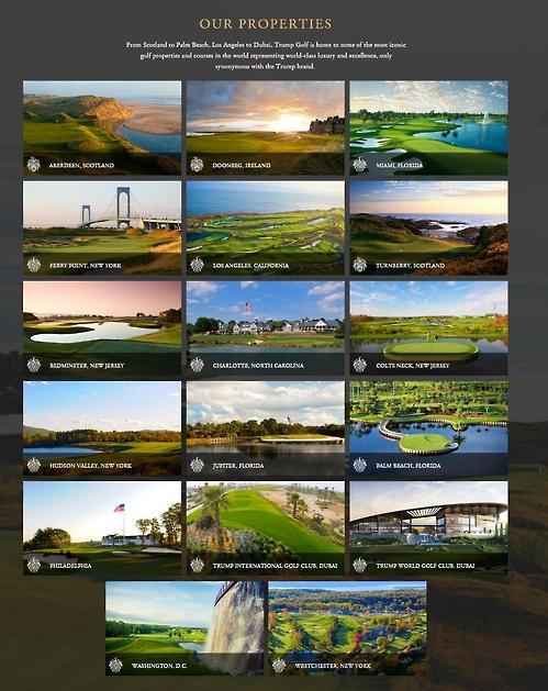 트럼프골프닷컴이 홈페이지에서 소개한 전 세계 트럼프 소유 골프장