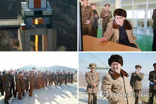 김정은, 지난해 4월 ICBM 엔진 분출시험 참관[연합뉴스 자료]