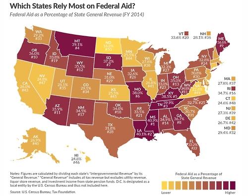 비영리단체 '세금기관'의 2014 회계연도 기준 미국 주별 연방기금 의존률