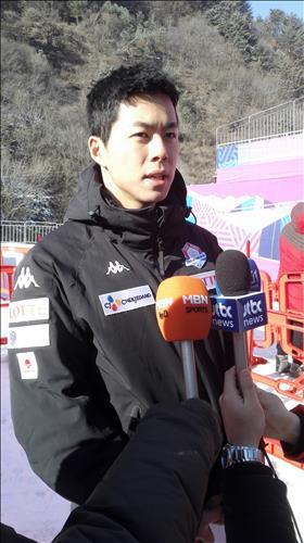 2016년 2월 테스트이벤트를 마치고 인터뷰하는 김현태.