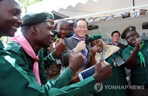 아프리카서 세계잼버리대회 유치 활동하는 전북도 [연합뉴스 자료사진]
