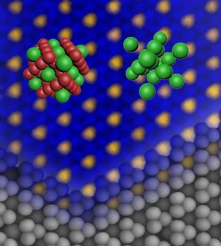 대면적 라베스 결정구조의 광학현미경 사진과 전자현미경 사진을 합성한 이미지
