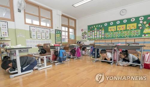 지진 대피 훈련하는 초등생들[연합뉴스 자료사진]