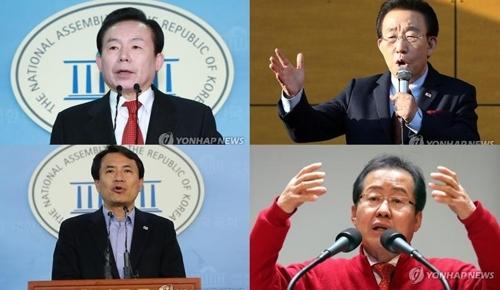 자유한국당 대선주자들. 왼쪽 위부터 이인제·김관용·김진태·홍준표